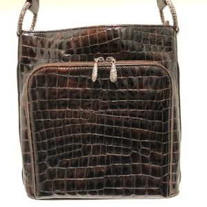 Brighton Embossed Leather Organizer Shoulder Bag